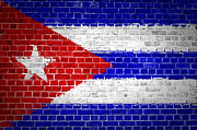 Built Digital Art Posters - Brick Wall Cuba Poster by Antony McAulay