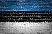 Building Exterior Digital Art - Brick Wall Estonia by Antony McAulay