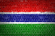 Old Wall Prints - Brick Wall Gambia Print by Antony McAulay