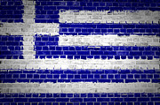 Old Wall Posters - Brick Wall Greece Poster by Antony McAulay