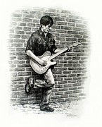Music Drawings Framed Prints - Brick Wall Guitar Framed Print by Todd Spaur