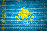Kazakhstan Digital Art - Brick Wall Kazakhstan by Antony McAulay