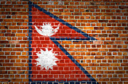Old Wall Framed Prints - Brick Wall Nepal Framed Print by Antony McAulay