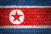 Korea Digital Art Prints - Brick Wall North Korea Print by Antony McAulay
