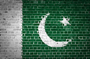 Old Wall Digital Art Prints - Brick Wall Pakistan Print by Antony McAulay