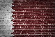 Qatar Digital Art Framed Prints - Brick Wall Qatar Framed Print by Antony McAulay