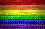 Gay Digital Art - Brick Wall Rainbow by Antony McAulay