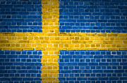 Sweden  Digital Art Posters - Brick Wall Sweden Poster by Antony McAulay