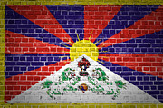 Tibet Digital Art Prints - Brick Wall Tibet Print by Antony McAulay