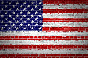 Old Wall Digital Art Prints - Brick Wall United States Print by Antony McAulay