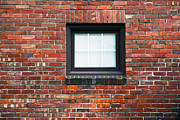 Building Feature Metal Prints - Brick wall with window Metal Print by Nathan Griffith