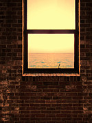 Sea View Art - Brick Window Sea View by Jill Battaglia