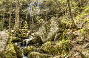 Heber Springs Photos - Bridal Veil Falls with Stream and Boulders - Heber Springs Arkansas by Jason Politte