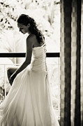 Wedding Photography Posters - Bride at the Balcony II. Black and White Poster by Jenny Rainbow