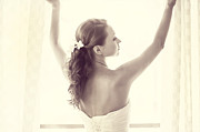 Wedding Photography Prints - Bride at the Window Print by Jenny Rainbow