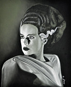 Charcoal Portrait Posters - Bride of Frankenstein Poster by Joe Dragt