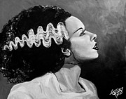 Bride Of Frankenstein Posters - Bride Poster by Tom Carlton