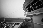Snow Board Prints - Bridge And Snow Covered Walkway On Board Hurtigruten Ferry Passenger Ship Docked In Hammerfest Durin Print by Joe Fox