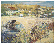 Impressionism Mixed Media Framed Prints - Bridge at Ispwich Framed Print by Theodore Wendel