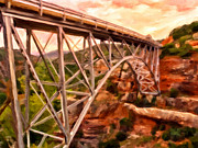 Canyons Painting Prints - Bridge in Oak Creek Canyon Print by Michael Pickett