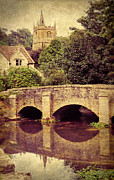 Charming Cottage Posters - Bridge in the Cotswolds Poster by Jill Battaglia