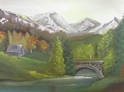 Nickel Yellow Paintings - Bridge in the valley by Dawn Nickel