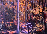 Hiker Paintings - Bridge in Woods Near Pandapas by Kendall Kessler