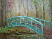Peaceful Scene Paintings - Bridge Into Spring by Holly LaDue Ulrich