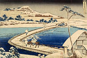 Landscapes Drawings Metal Prints - Bridge of Boats at Sawa Metal Print by Hokusai Katasushika