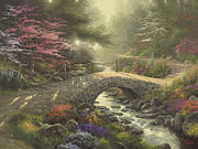 Bridge Painting Framed Prints - Bridge of Faith Framed Print by Thomas Kinkade