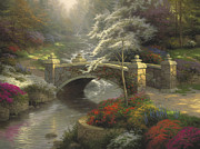 Bridge Painting Framed Prints - Bridge of Hope Framed Print by Thomas Kinkade