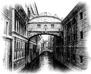 Architecture Drawings - Bridge of Sighs Pencil by Jenny Hudson