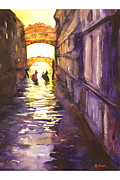 American Watercolor Society Posters - Bridge of Sighs Poster by Ryan Fox