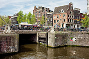 City Canal Prints - Bridge on Singel Canal in Amsterdam Print by Artur Bogacki