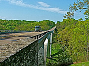 Natchez Trace Parkway Prints - Bridge over Birdsong Hollow at Mile 438 of Natchez Trace Parkway-TN Print by Ruth Hager