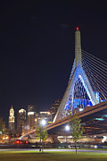 Night Scenes Framed Prints - Bridge Over Boston Framed Print by Joann Vitali