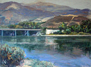 Malibu Lagoon Paintings - Bridge over Cross Creek by Lillian Winkler