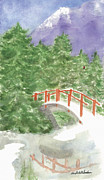 Wa Paintings - Bridge over Frozen Water by Ann Michelle Swadener