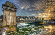 Industrial Background Digital Art Posters - Bridge over icey waters Poster by Nathan Wright