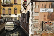 Tourist Destinations Prints - Bridge over narrow canal Print by Sami Sarkis