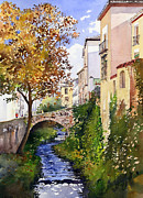 Margaret Merry Prints - Bridge over the Rio Darro Print by Margaret Merry