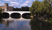 River Scenes Photos - Bridge over the St. Joseph River  --  South Bend by Anna Lisa Yoder
