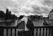 Valentines Day Posters - Bridge Reunion - Lovers in Paris Photography Poster by Laria Saunders