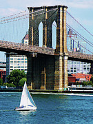 Sail Boat Prints - Bridge - Sailboat by the Brooklyn Bridge Print by Susan Savad
