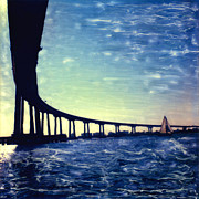 Bay Bridge Mixed Media Metal Prints - Bridge Shadow Metal Print by Glenn McNary