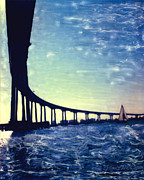 Bay Bridge Mixed Media Metal Prints - Bridge Shadow - Vertical Metal Print by Glenn McNary