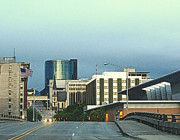 College Pastels - Bridge Street View Of Downtown Grand Rapids Michigan by Rosemarie E Seppala
