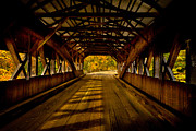 Covered Bridge Mixed Media Prints - Bridge to Fall Color Print by Colleen Crowley