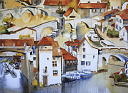 France Doors Painting Prints - Bridge To Lock Print by Shirley  Peters