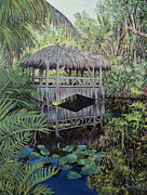 Bamboo House Painting Framed Prints - Bridge to Paradise Framed Print by Danielle  Perry